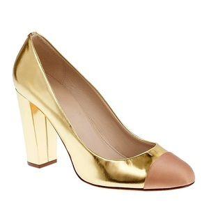 J. Crew gold cap toe heel